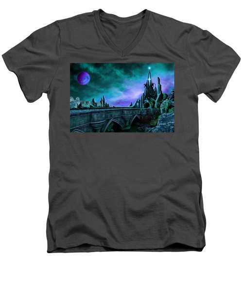 Men's V-Neck T-Shirt featuring the painting The Crystal Palace - Nightwish by James Christopher Hill