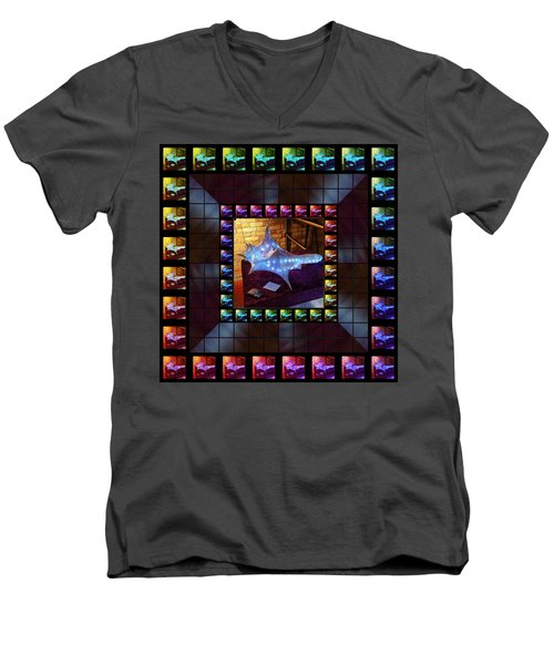 Men's V-Neck T-Shirt featuring the sculpture The Crystal Shell - Illuminated by Shawn Dall