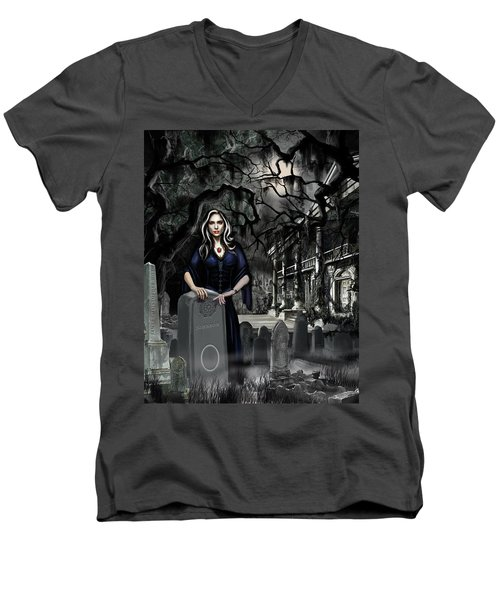 Men's V-Neck T-Shirt featuring the painting The Curse Of Johnson Bayou by James Christopher Hill