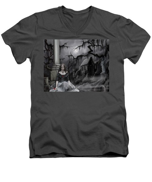 Men's V-Neck T-Shirt featuring the painting The Dark Caster Awaits by James Christopher Hill