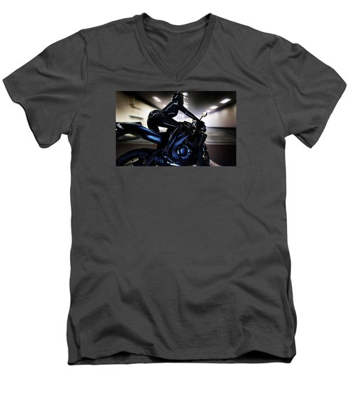 Men's V-Neck T-Shirt featuring the photograph The Dark Knight by Lawrence Christopher