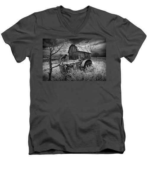 Men's V-Neck T-Shirt featuring the photograph The Decline And Death Of The Small Farm In Black And White by Randall Nyhof
