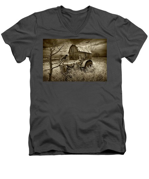 Men's V-Neck T-Shirt featuring the photograph The Decline And Death Of The Small Farm In Sepia Tone by Randall Nyhof