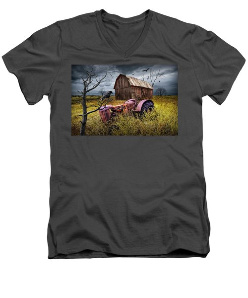 Men's V-Neck T-Shirt featuring the photograph The Decline And Death Of The Small Farm by Randall Nyhof
