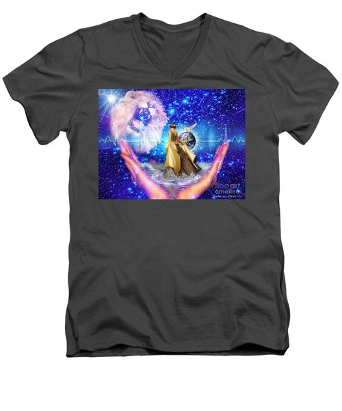 Men's V-Neck T-Shirt featuring the digital art The Depth Of Gods Love by Dolores Develde
