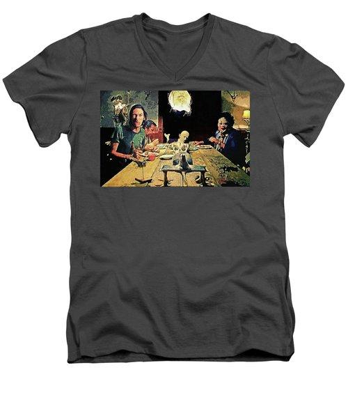 The Dinner Scene - Texas Chainsaw Men's V-Neck T-Shirt by Taylan Apukovska