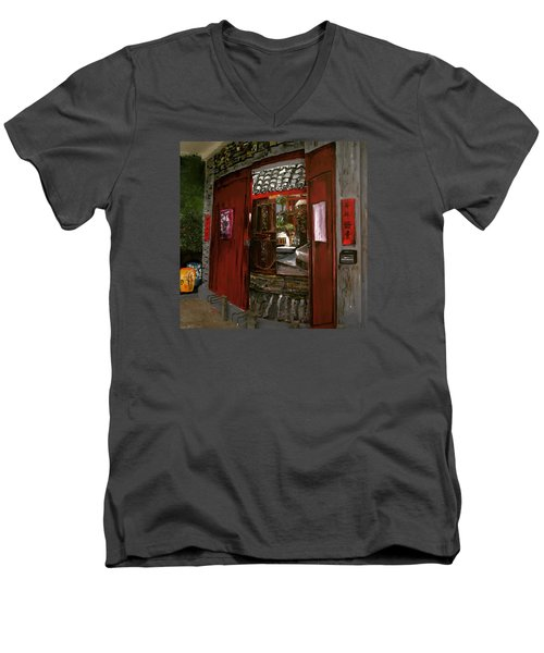 Men's V-Neck T-Shirt featuring the painting The Red Door by Belinda Low