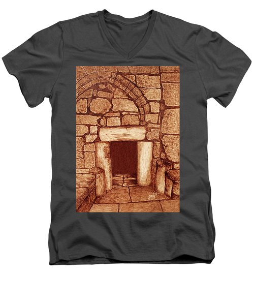Men's V-Neck T-Shirt featuring the painting The Door Of Humility At The Church Of The Nativity Bethlehem by Georgeta Blanaru