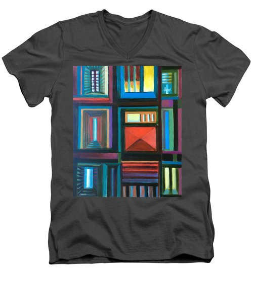 Men's V-Neck T-Shirt featuring the painting The Doors Of Hope  by Laila Awad Jamaleldin