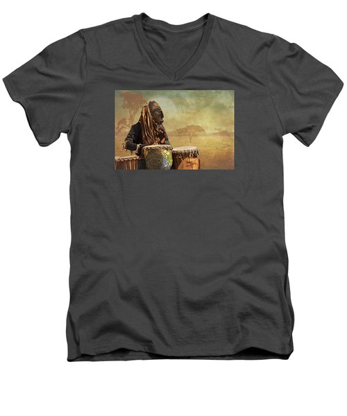 The Dream Of His Drums Men's V-Neck T-Shirt by Christina Lihani