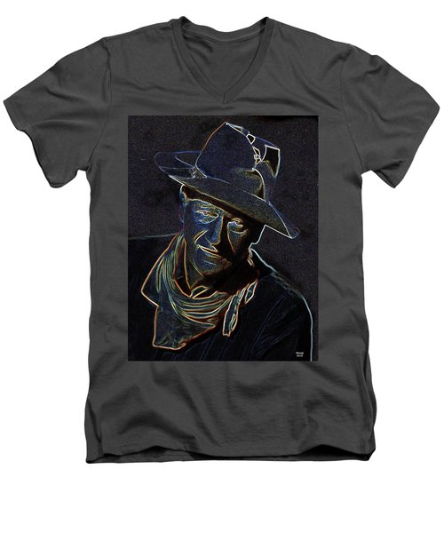 Men's V-Neck T-Shirt featuring the mixed media The Duke by Charles Shoup