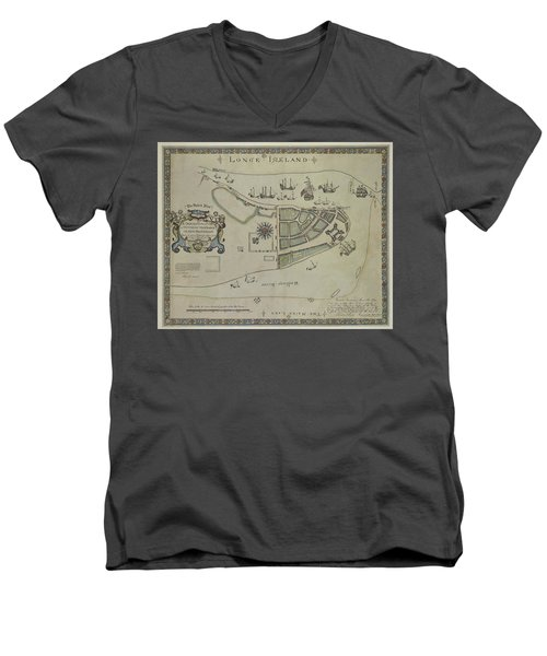 The Dukes Plan A Description Of The Town Of Mannados Or New Amsterdam 1664 Men's V-Neck T-Shirt