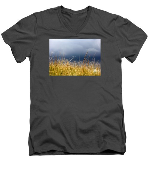 Men's V-Neck T-Shirt featuring the photograph The Tall Grass Waves In The Wind by Dana DiPasquale