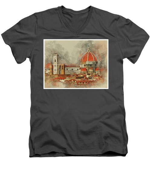 The Duomo Florence Men's V-Neck T-Shirt by Brian Tarr