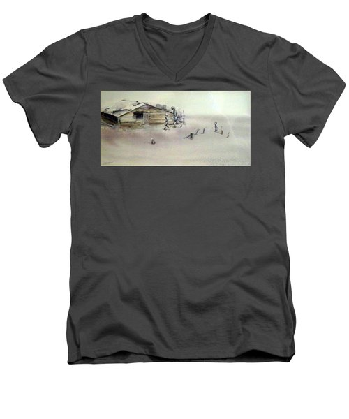 Men's V-Neck T-Shirt featuring the painting The Dustbowl by Ed Heaton
