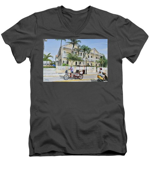 Men's V-Neck T-Shirt featuring the painting The Duval House, Key West, Florida by Bob George