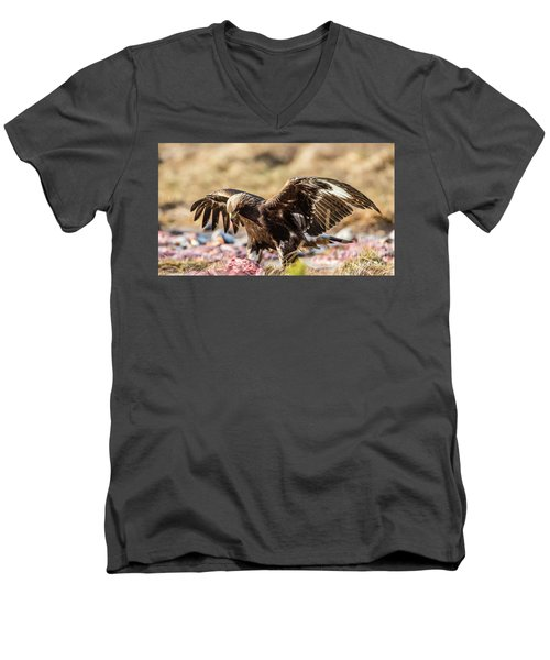 Men's V-Neck T-Shirt featuring the photograph The Eagle Have Come Down by Torbjorn Swenelius