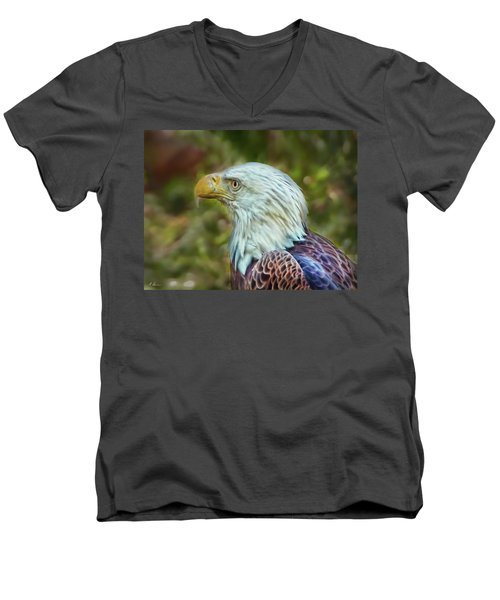 Men's V-Neck T-Shirt featuring the photograph The Eagle Look by Hanny Heim