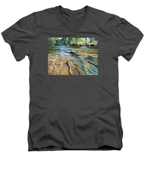Men's V-Neck T-Shirt featuring the painting The East Dart River Dartmoor by Lawrence Dyer