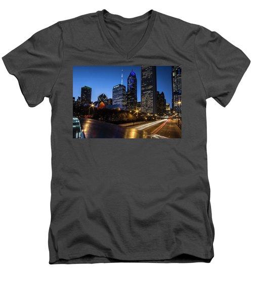 The East Side Skyline Of Chicago  Men's V-Neck T-Shirt