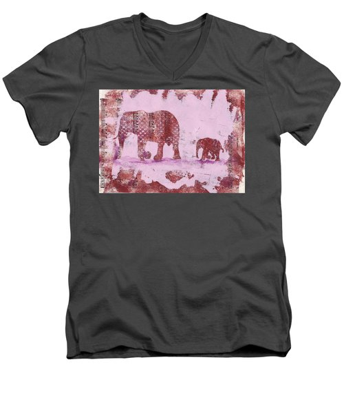 Men's V-Neck T-Shirt featuring the mixed media The Elephant March by Ruth Kamenev