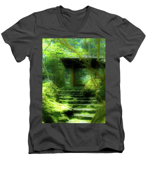 Men's V-Neck T-Shirt featuring the photograph The Emerald Stairs by Tim Ernst
