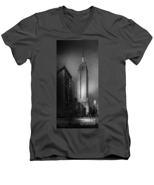 Men's V-Neck T-Shirt featuring the photograph The Empire State Ch by Marvin Spates