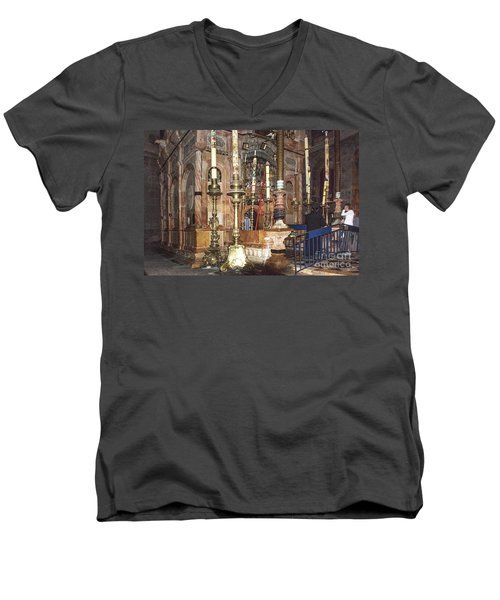Men's V-Neck T-Shirt featuring the photograph The Empty Tomb Of Christ by Mae Wertz
