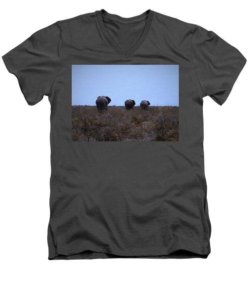 Men's V-Neck T-Shirt featuring the digital art The End by Ernie Echols