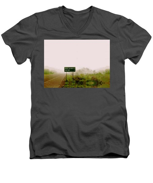 The End Of The Earth Men's V-Neck T-Shirt by Sam Sidders