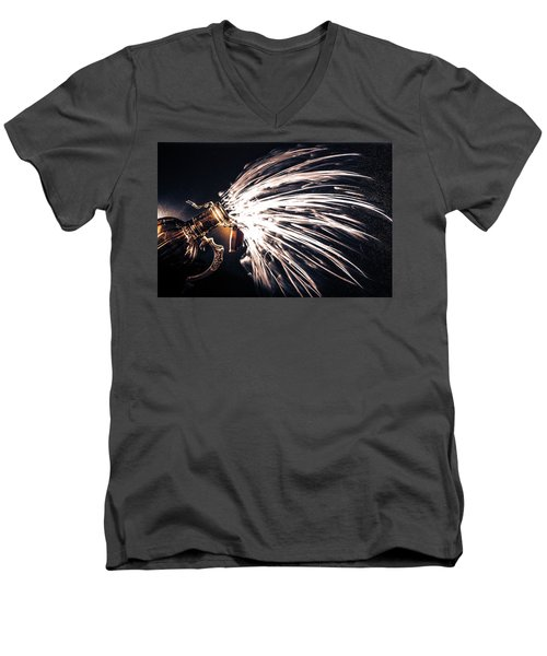 Men's V-Neck T-Shirt featuring the photograph The Exploding Growler by David Sutton
