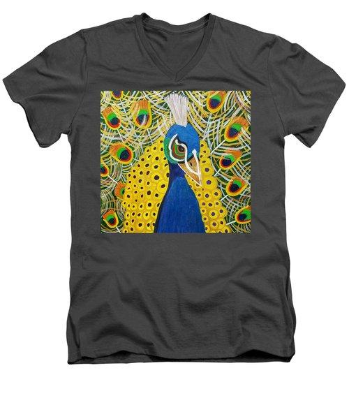 The Eye Of The Peacock Men's V-Neck T-Shirt by Margaret Harmon
