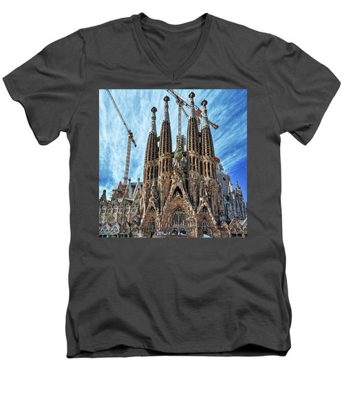 The Facade Of The Sagrada Familia Men's V-Neck T-Shirt