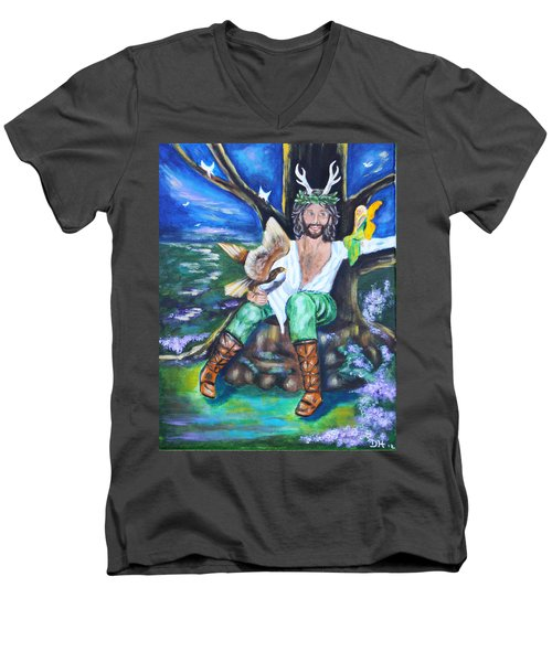 The Faery King Men's V-Neck T-Shirt by Diana Haronis