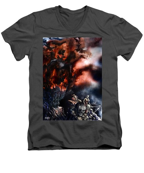 The Fall Of Azturath Men's V-Neck T-Shirt by Curtiss Shaffer