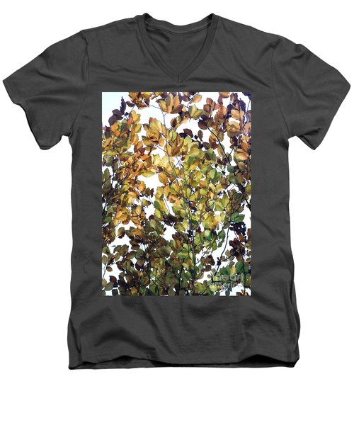 Men's V-Neck T-Shirt featuring the photograph The Fall by Rebecca Harman