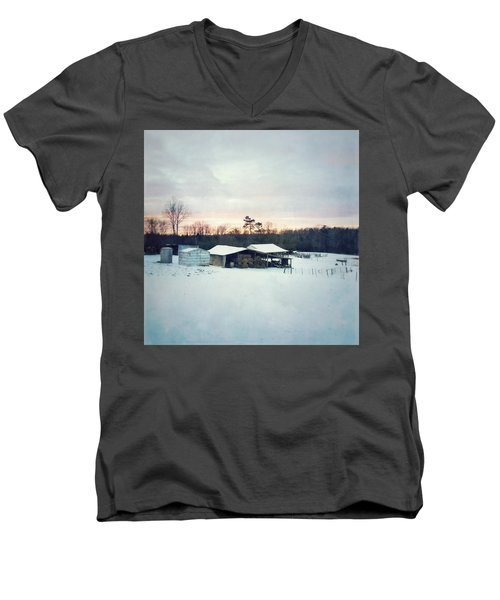 The Farm In Snow At Sunset Men's V-Neck T-Shirt