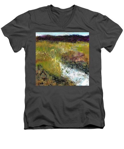 Men's V-Neck T-Shirt featuring the painting The Farmers Ditch Fall by Frances Marino