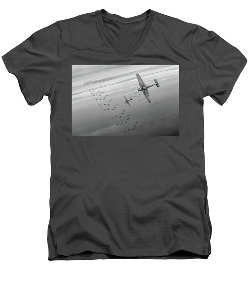 Men's V-Neck T-Shirt featuring the photograph The Few Bw Version by Gary Eason