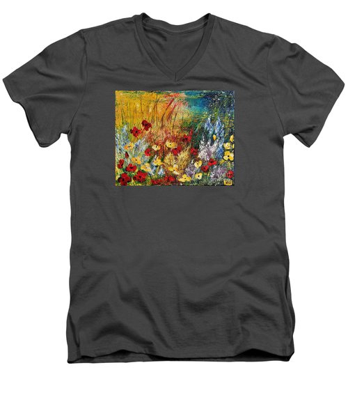 Men's V-Neck T-Shirt featuring the painting The Field by Teresa Wegrzyn