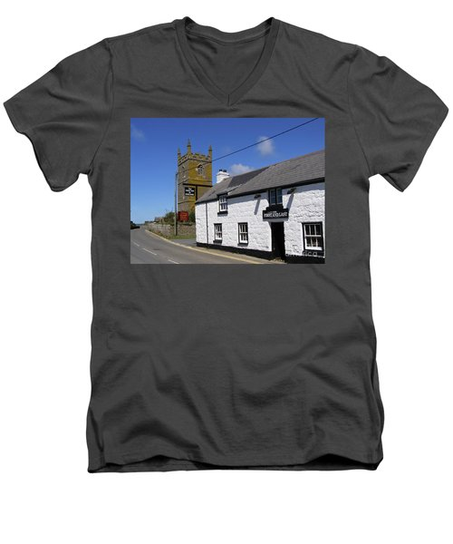 Men's V-Neck T-Shirt featuring the photograph The First And Last Inn In England by Terri Waters