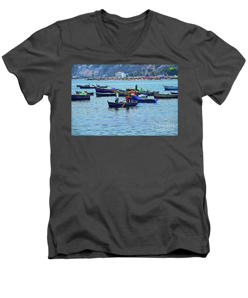 Men's V-Neck T-Shirt featuring the photograph The Fishermen - Miraflores, Peru by Mary Machare