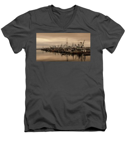 The Fishing Fleet Men's V-Neck T-Shirt by Tony Locke