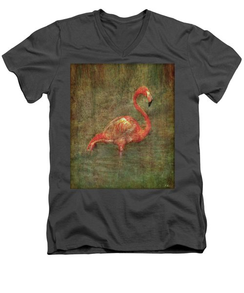 Men's V-Neck T-Shirt featuring the photograph The Flamingo by Hanny Heim