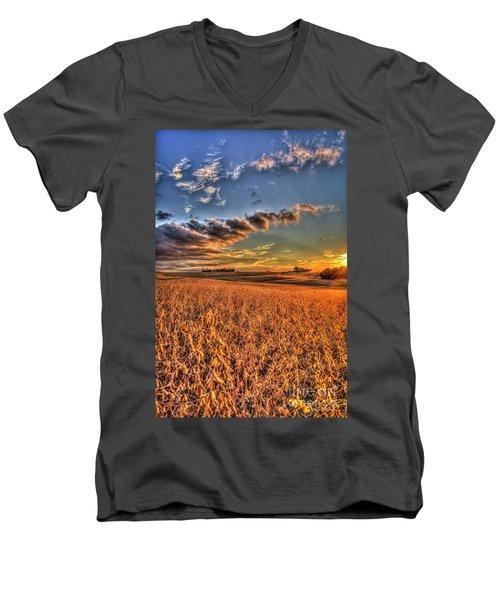 The Fleeting Sunset Missouri Soybean Farming Art  Men's V-Neck T-Shirt