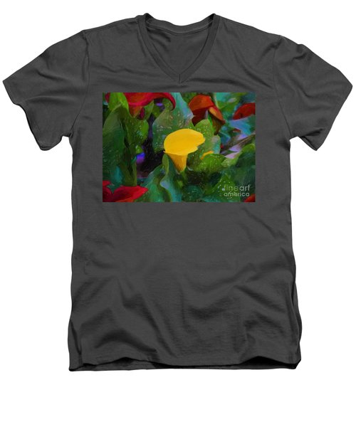 Men's V-Neck T-Shirt featuring the photograph The Flowers In Juarez Park by John Kolenberg