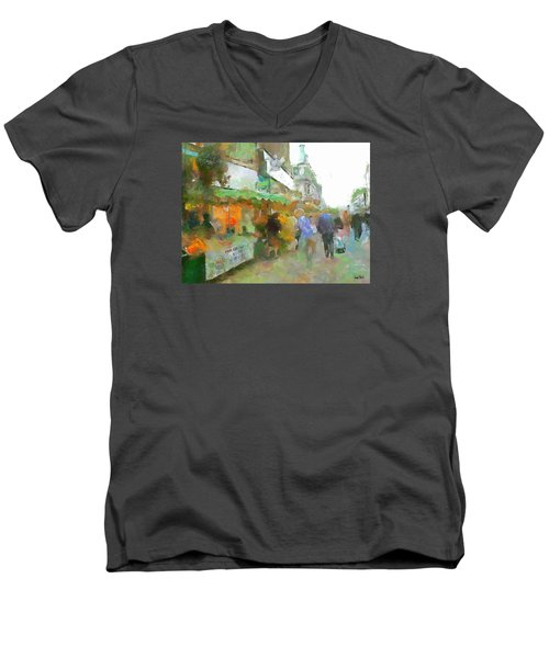 Men's V-Neck T-Shirt featuring the painting The Food Fair by Wayne Pascall