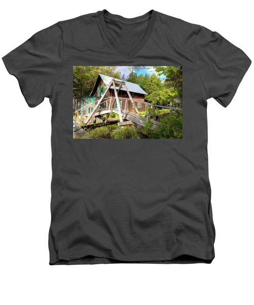 Men's V-Neck T-Shirt featuring the photograph The Footbridge At Palmer Point by David Patterson