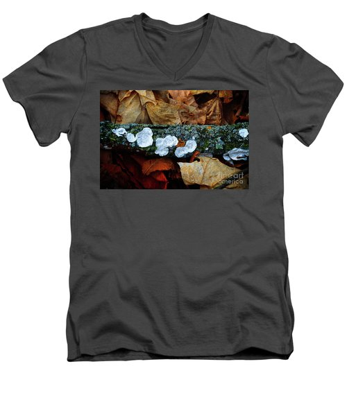 Men's V-Neck T-Shirt featuring the photograph The Forest Floor - Cascade Wi by Mary Machare