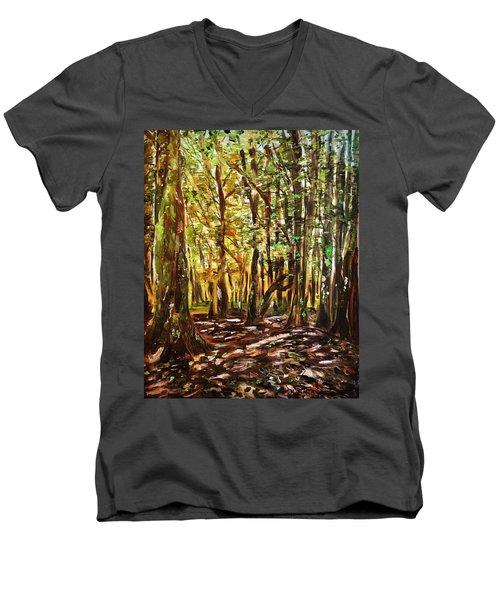 La Foret Du Mount Beuvray Men's V-Neck T-Shirt by Belinda Low